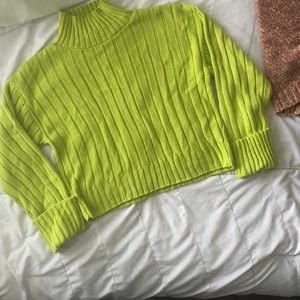 Nasty Gal Neon Green Cropped Sweater